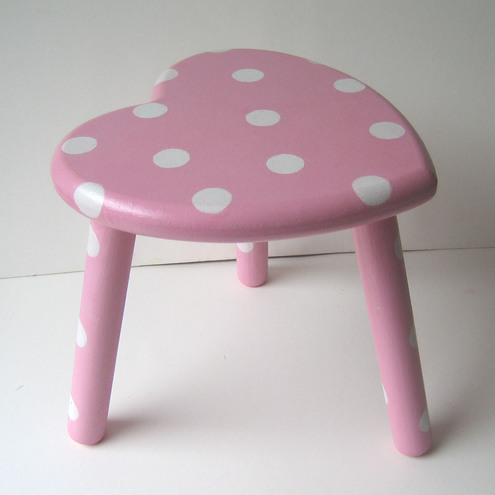 Pink Heart Shaped Stool