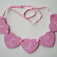 Girl's Personalised Heart Garland