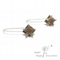 Handmade Sterling Silver Hammered Star and Square Earrings (Domed)
