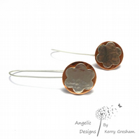 Handmade Sterling Silver Hammered Flower and Copper Circle Earrings