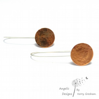 Handmade Sterling Silver and Copper Hammered Circle (large) Earrings