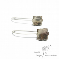 Handmade Sterling Silver Hammered Flower and Square Earrings (Domed)