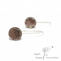 Handmade Sterling Silver Hammered Flower and Circle Earrings