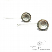 Handmade Sterling Silver Hammered Two Circle Earrings (Domed)