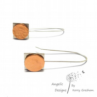 Handmade Sterling Silver Square and Copper Circle Hammered Earrings