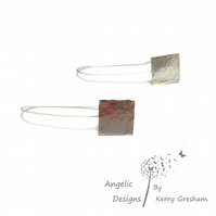 Handmade Sterling Silver Hammered Square Earrings