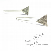 Handmade Sterling Silver Hammered Triangle Shaped Earrings