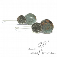Handmade Sterling Silver Hammered Two Circle Earrings