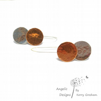 Handmade Sterling Silver  and Copper Hammered Two Circle Earrings