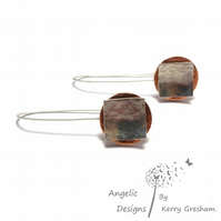 Handmade Sterling Silver Square and Copper Circle Hammered Earrings Domed