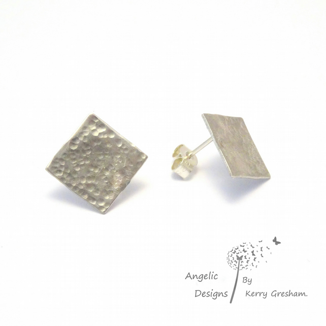 Handmade Sterling Silver Stud Earrings (Hammered)