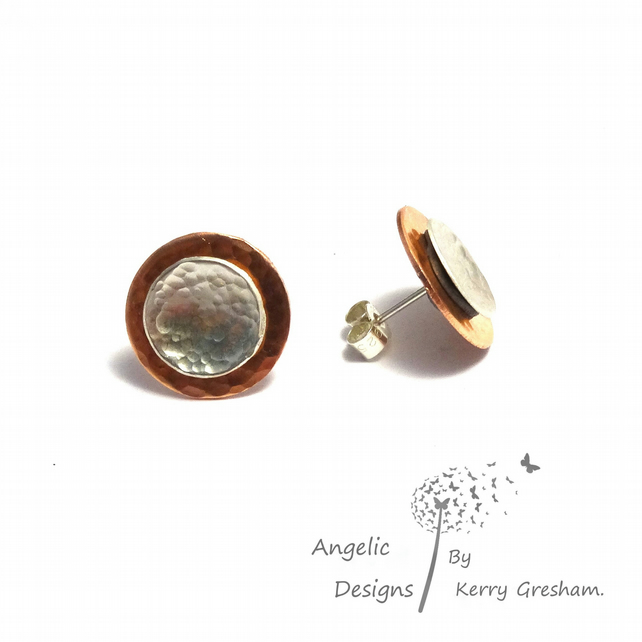 Handmade Copper  And Sterling Silver Hammered Two Circle Stud Earrings (Domed)