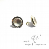 Handmade Sterling Silver Hammered Two Circle Stud Earrings (Domed)