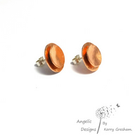 Handmade Copper Hammered Two Circle Stud Earrings (Domed)