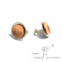 Handmade Sterling Silver And Copper Hammered Two Circle Stud Earrings (Domed)
