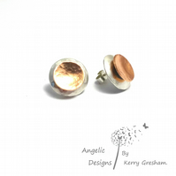 Handmade Sterling Silver And Copper Hammered Two Circle Stud Earrings (Domedx2)