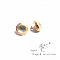 Handmade Copper  And Sterling Silver Hammered Two Circle Stud Earrings (Domedx2)