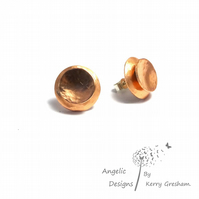 Handmade Copper Hammered Two Circle Stud Earrings (Domedx2)