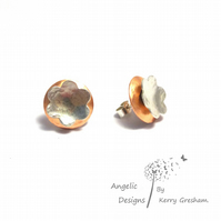 Handmade Copper Sterling Silver Hammered Circle Flower Stud Earrings (Domedx2)