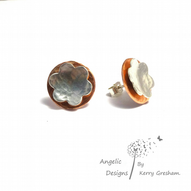 Handmade Copper Sterling Silver Hammered Circle Flower Stud Earrings (Domed)