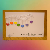 Handmade Card Believe Hearts Rainbow