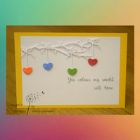 Handmade Card Colour My World Hearts Rainbow