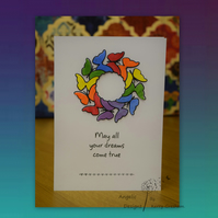 Handmade Card Butterflies May All You Dreams Come True Rainbow