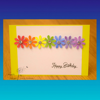 Handmade Birthday Card Flowers Rainbow