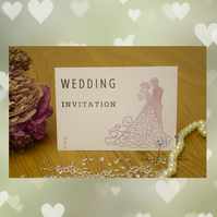 Handmade Card Wedding Invitation, Order Of Service, Evening Invitation Couple