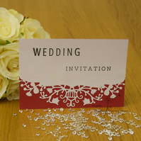 Handmade Card Wedding Invitation, Order Of Service, Evening Invitation FlowVine
