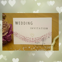 Handmade Card Wedding Invitation, Order Of Service, Evening Invitation Swirls