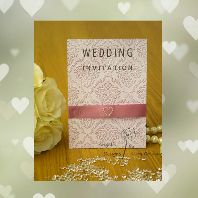 Handmade Card Wedding Invitation Order Of Service Evening Invitation Rembcol