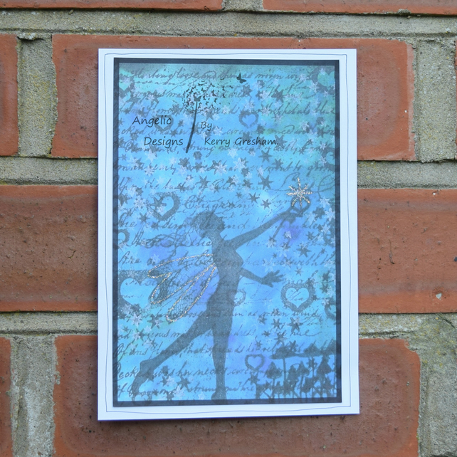 Handmade Card Fairy with Written Background A5