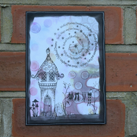 Handmade Card  Fairy Wing Washing Line, Mushrooms and Fairy House  A5