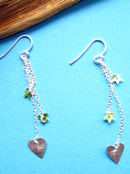 Funky silver heart earrings