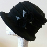 Black Fleece-Cloche Hat with Black Flower Detail-Polar Fleece Lining-Downton Abb