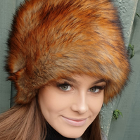 Luxury Faux Fox Fur Hat with Cosy Polar Fleece Lining Fake Fur