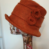 Burnt Orange Felted Wool Flower Hat with Cosy Fleece Lining