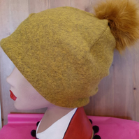 Mustard Wool Blend Slouchy Hat with Large Mustard Pom Pom. Fully lined with Pola