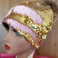 Flip Sequin PomPom Hat in GoldBaby Pink-Polar Fleece Lining-Reversible Sequins-M