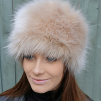 Caramel Faux Fur Hat- Cosy Polar Fleece Lining-Ladies Winter Hat-Fake Fur Hat-Fa