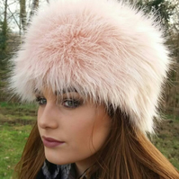 Beautiful Pale Pink Luxury Faux Fur Hat-Cosy Polar Fleece Lining-Ladies Winter H