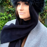 Frieda Scarf Hat. Faux Fur Hat with Fleece Top and Long Fleece Sides. Long Black