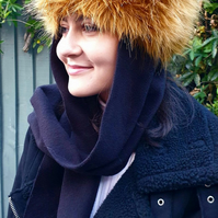 Frieda Scarf Hat in Gold. Faux Fur Hat with Fleece Top and Long Fleece Sides. Fu