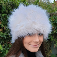 Off White Faux Fur Hat Russian Style with Cosy Polar Fleece Lining