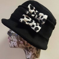 Black Cloche Hat In Cosy Polar Fleece-Dalmation Bows-Downton Abbey Hat-Womens Fl