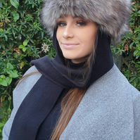 Frieda Scarf Hat. Faux Fur Hat with Fleece Top and Long Fleece Sides. Super Wolf