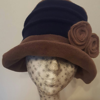 Stylish Navy and Camel 20's Style Cloche Fully Fleece Lined-Downton Abbey Hat-Wo