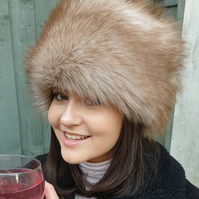 Sherry Fox Faux Fur Hat with Cosy Polar Fleece Lining.