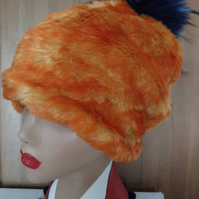 Cosy Orange Faux Fur Slouchy Hat Large Pink or Blue Pom Pom-Fully lined with Pol